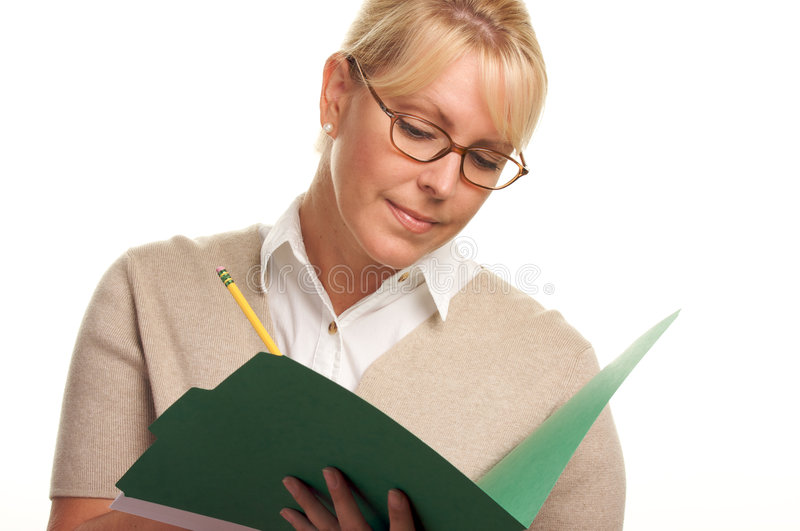 Writing Beautiful Woman with Pencil and Folder stock images