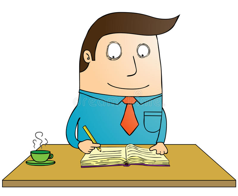 Writing book. A man writing on book stock illustration