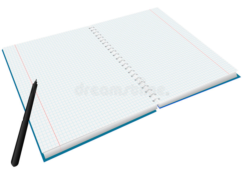 Writing-book. Pure writing-book and pen for records royalty free illustration