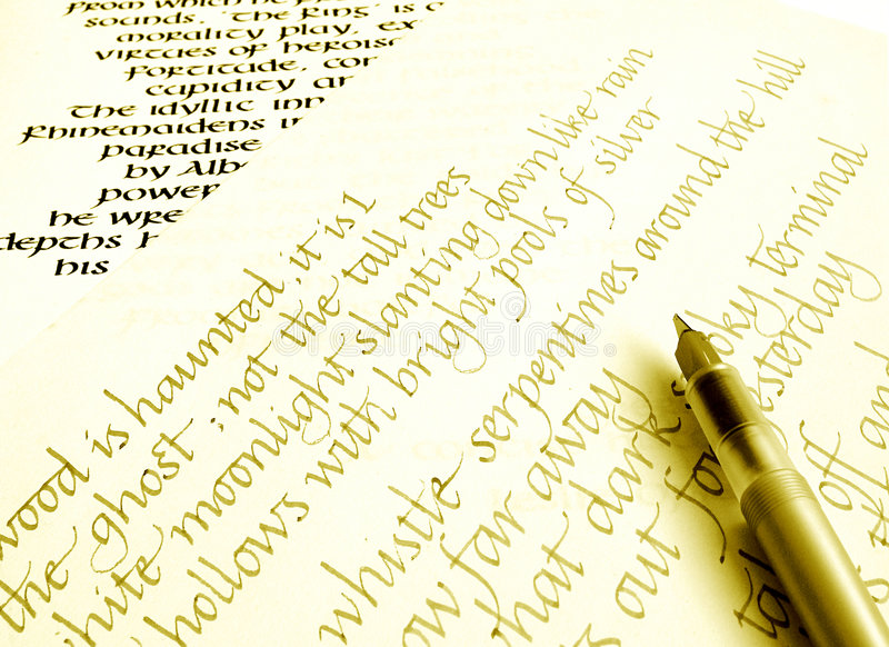 Writing calligraphy on paper. An image showing a modern design calligraphy pen, with two different styles of calligraphic handwritings in the background stock image