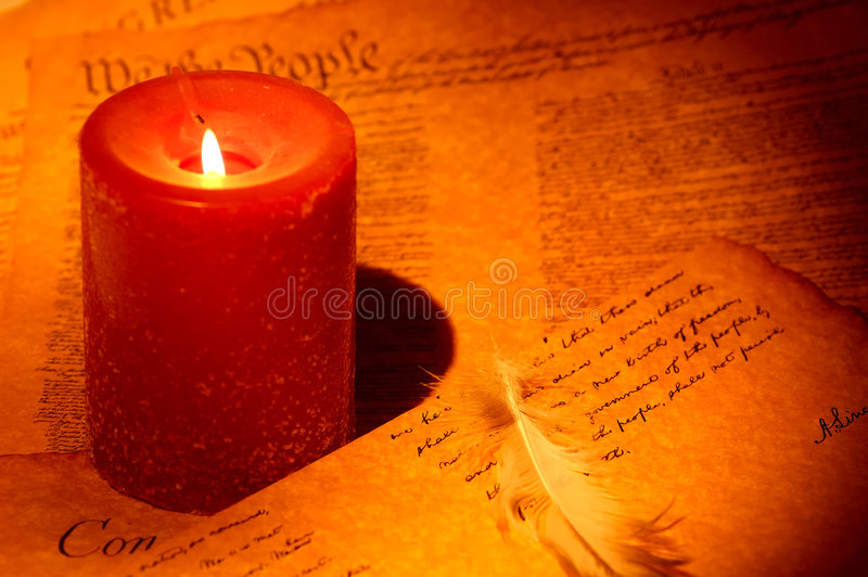Writing By Candle stock image