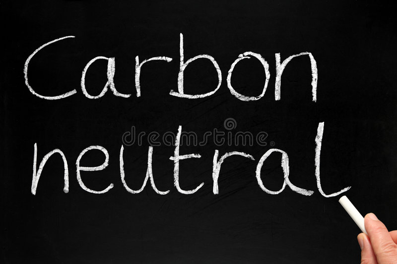 Writing Carbon neutral. royalty free stock image