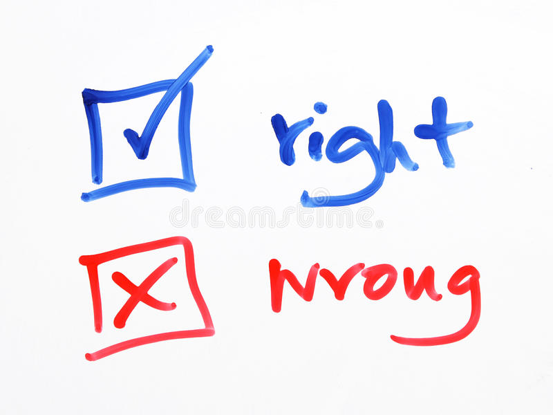 Writing check box wrong or right on white background royalty free stock photography