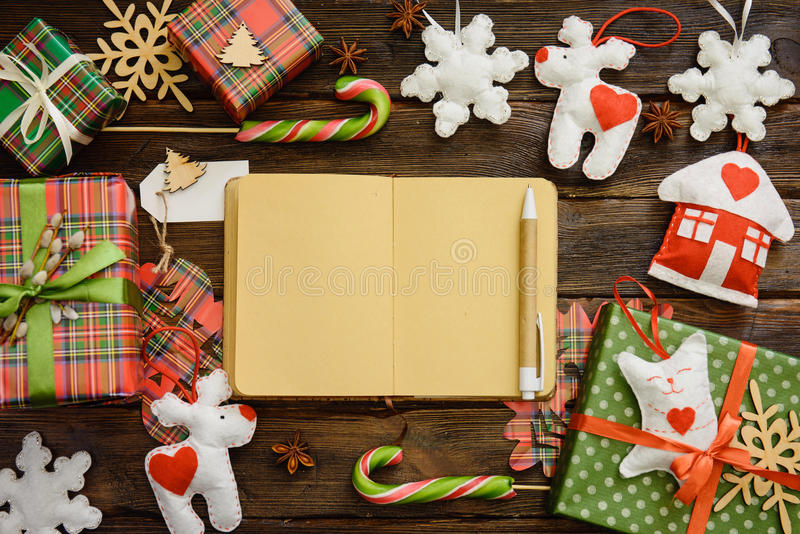 Download Writing Christmas Wish List, Shopping List On Paper. Top View  Stock Image