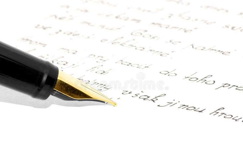 Writing-diary. A letter written in ink pen-Czech royalty free stock photos