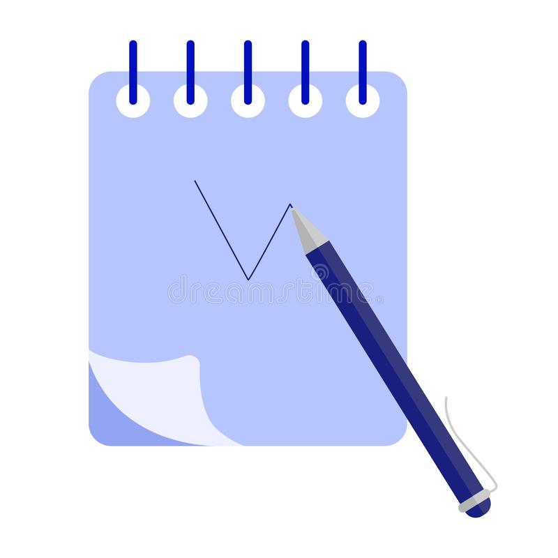 Writing diary concept. Planning day schedule in paper diary notebook stock illustration