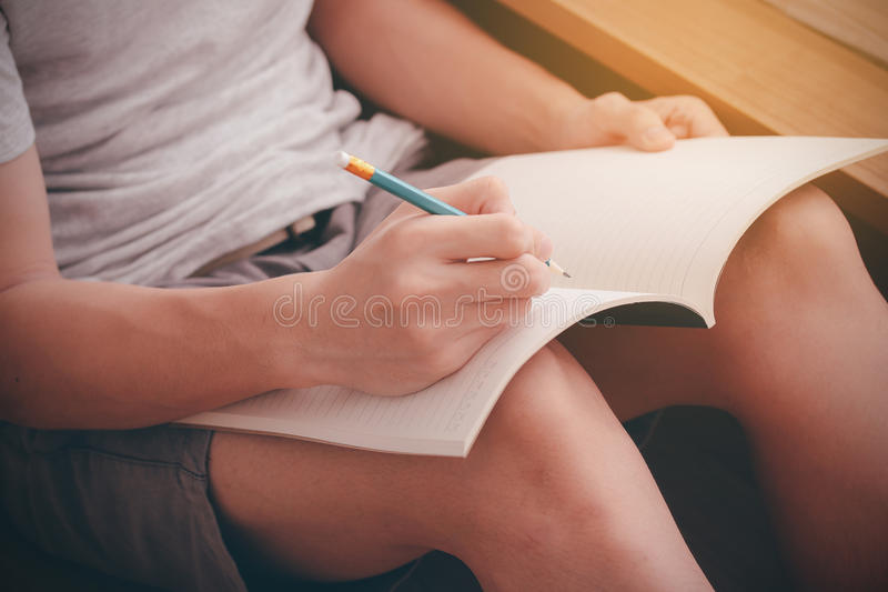Writing a diary stock photo