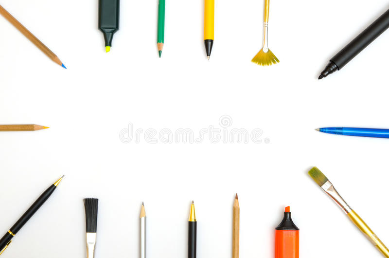 writing and drawing utensils stock image image of college marker