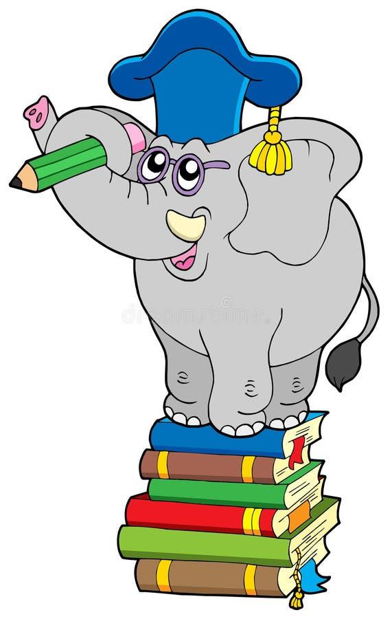 Writing elephant teacher on book. Vector illustration stock illustration