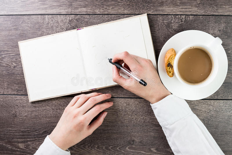 Writing on empty(blank) book(note, diary) spread mockup stock photos