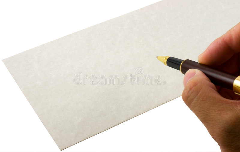Writing envelope. With a gold and wooden pen. Customized address can be added to the envelope royalty free stock images