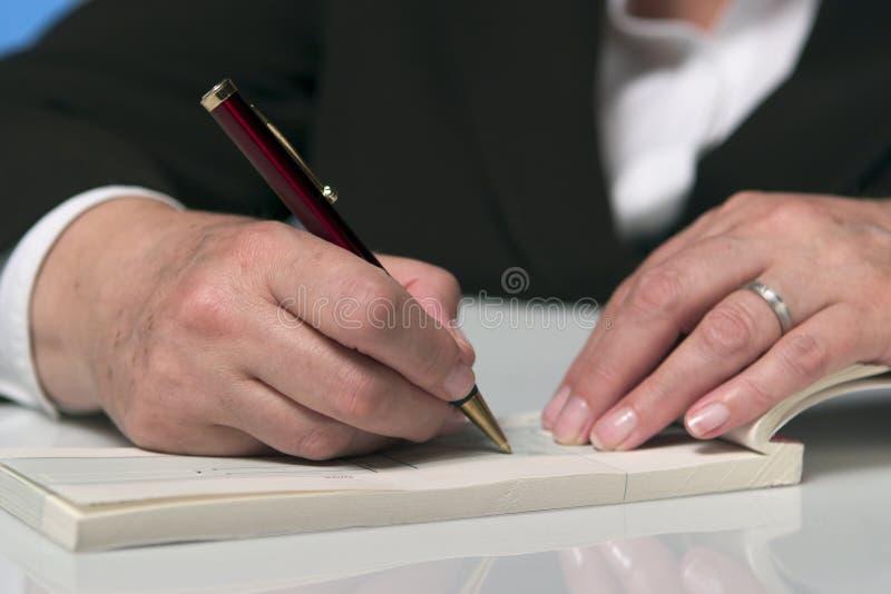 writing för 3 check royaltyfria foton