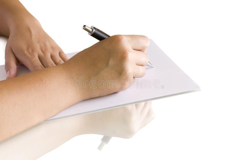 writing för handsidapenna royaltyfri fotografi