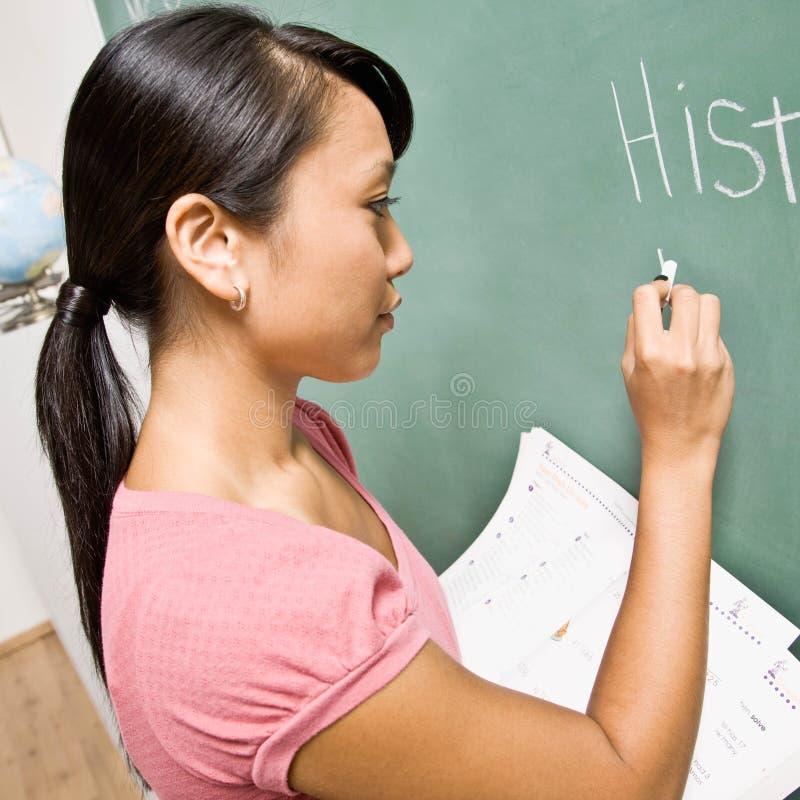 writing för lärare för brädekritaklassrum royaltyfri bild