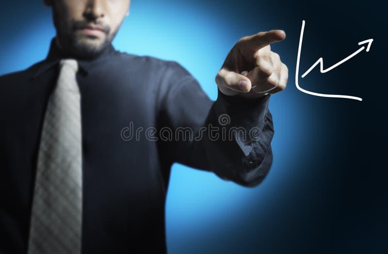 writing för man för affärsgraf royaltyfria foton
