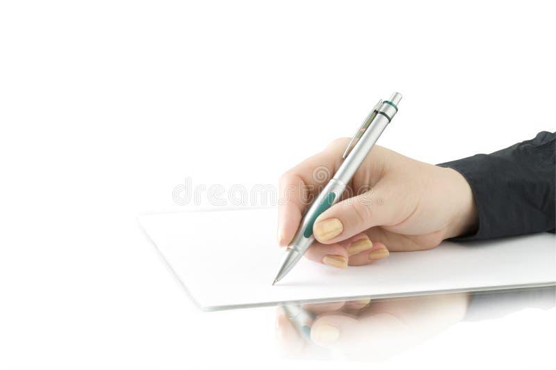 writing för penna för handkeepsida royaltyfri fotografi
