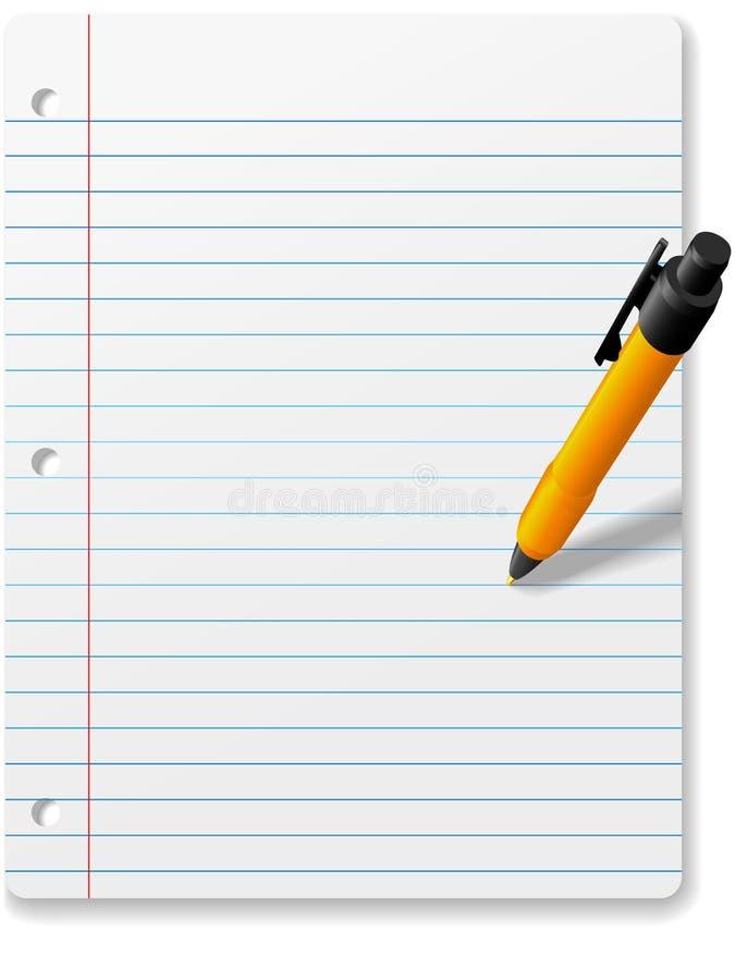 writing för penna för papper för bakgrundsteckningsanteckningsbok royaltyfri illustrationer