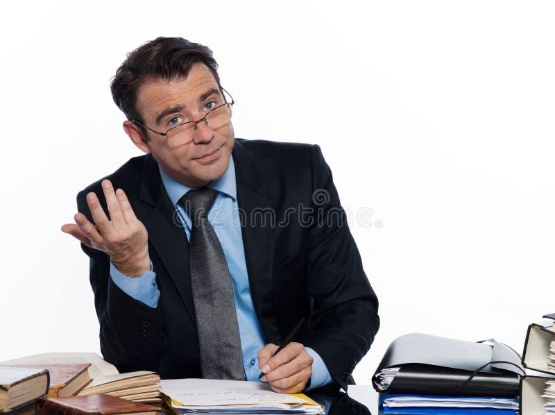 writing för skrivbordsarbete för upptagen man för affär arkivbilder