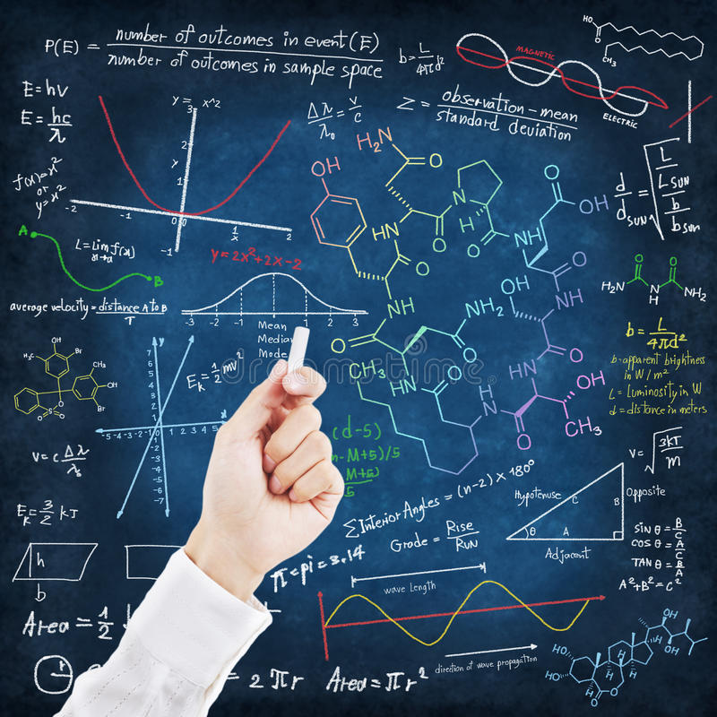 writing för formelhandvetenskap stock illustrationer