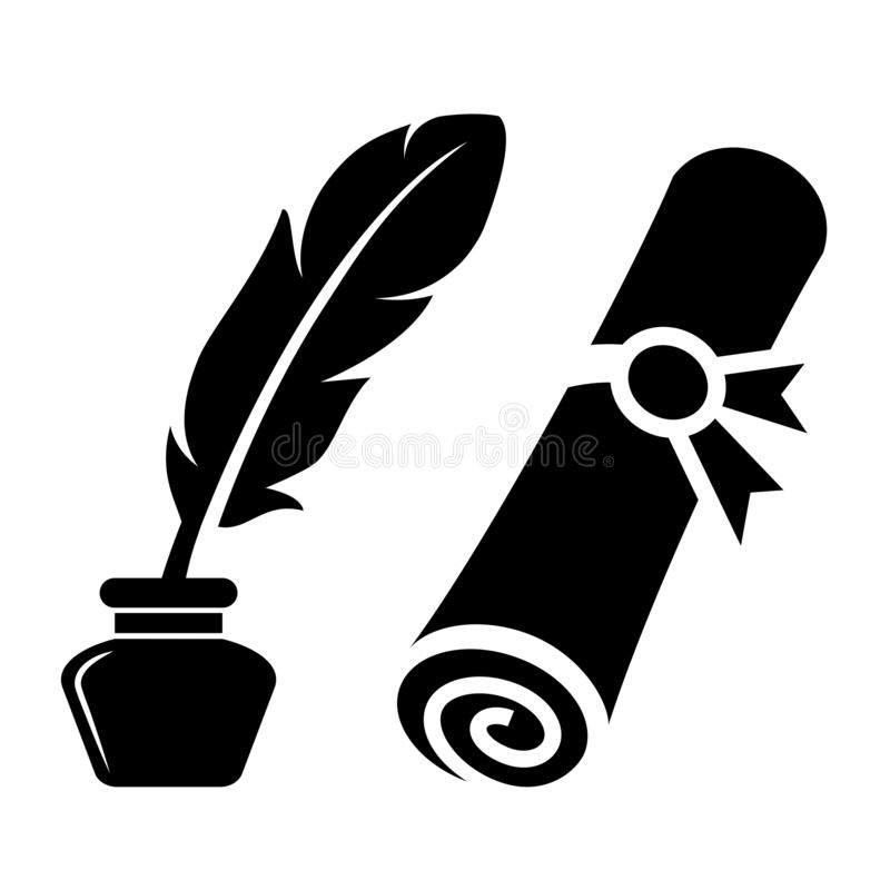 Writing feather and old rolled certificate. Vector icon on white background stock illustration