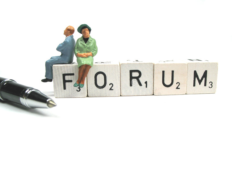 Writing on a forum stock image