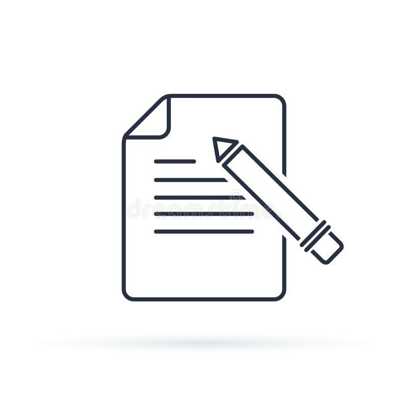 Writing glifu wektoru ikona Kontaktowa forma pisze płaskim projekta znaku lub redaguje, kreskowy piktogram odizolowywający na bie ilustracji