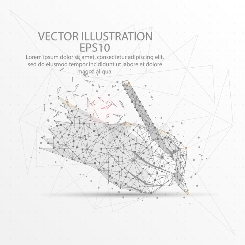 Writing hand form low poly wire frame on white background. Writing hand form mesh line and composition digitally drawn in the form of broken a part triangle vector illustration