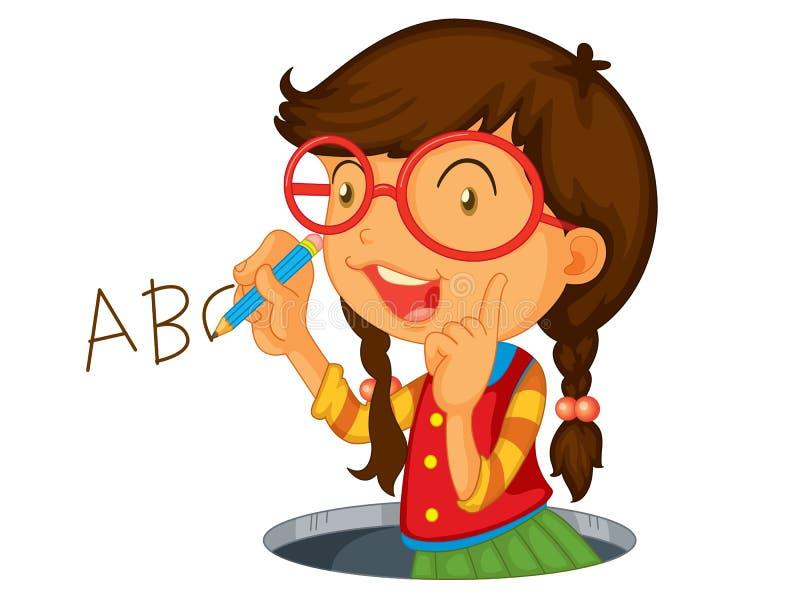 Writing icon girl vector illustration