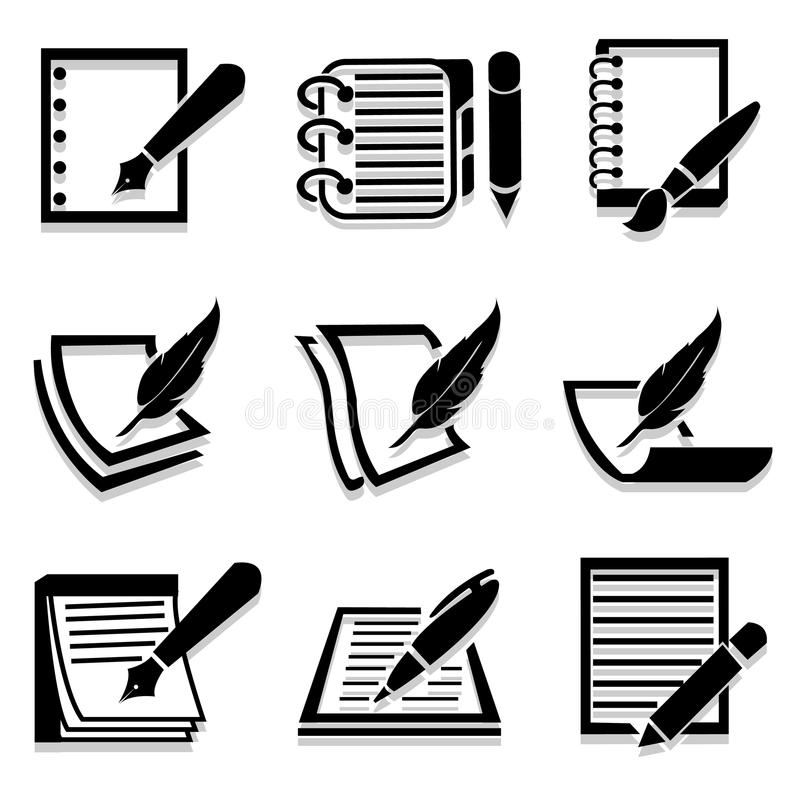 Writing icons set great for any use. Vector EPS10. vector illustration