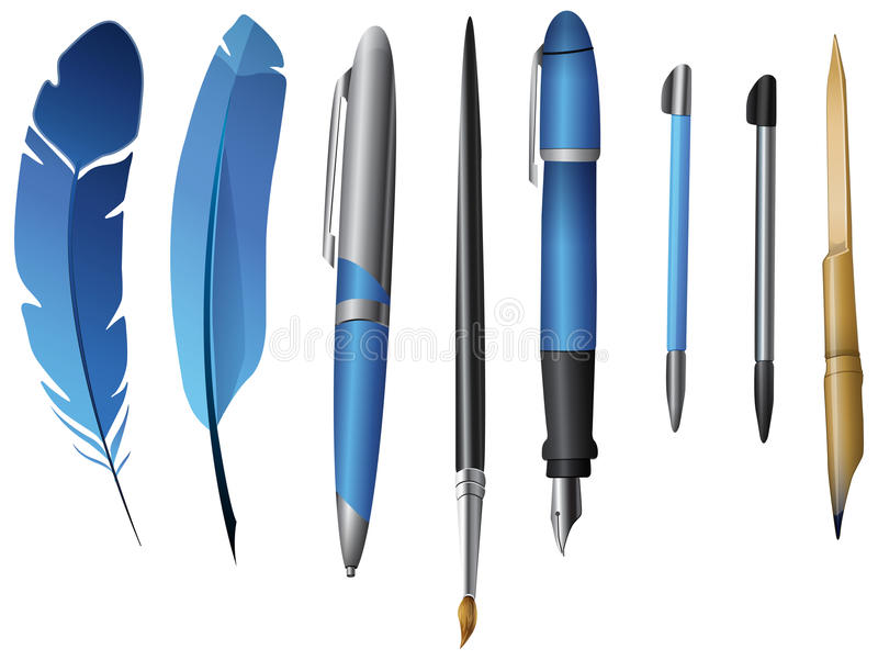 Writing Instruments. Set of various Writing Instruments royalty free illustration
