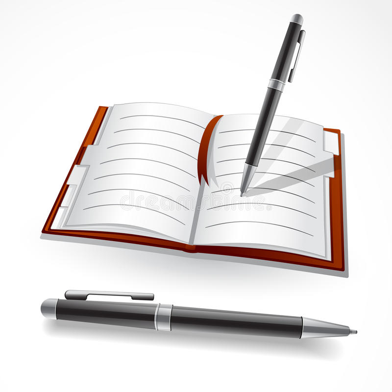 Writing in a journal vector illustration