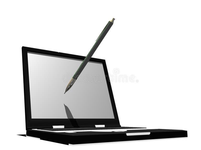 Writing on the laptop stock photo