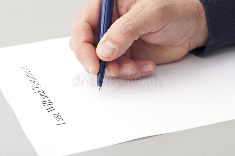 Writing Last Will and Testament stock photos
