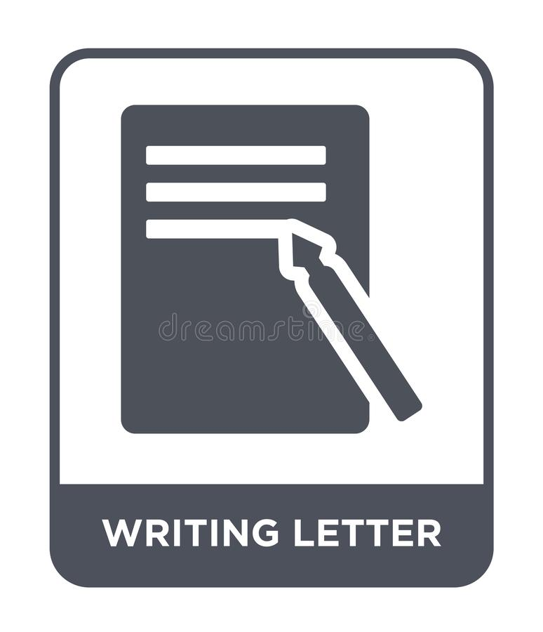 writing letter icon in trendy design style. writing letter icon isolated on white background. writing letter vector icon simple stock illustration