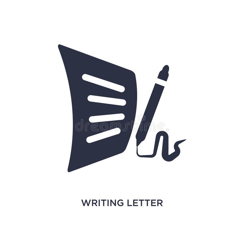 Writing letter icon on white background. Simple element illustration from communication concept. Writing letter icon. Simple element illustration from royalty free illustration