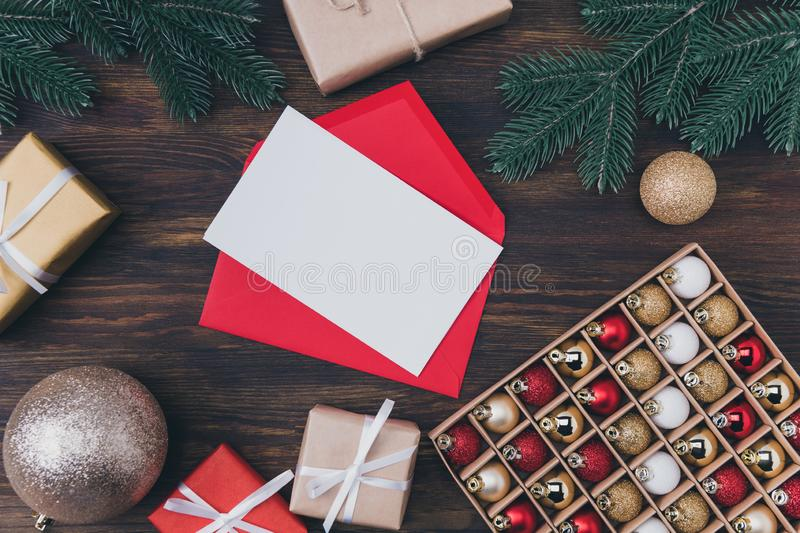 Writing letter to Santa concept. Top above high angle overhead close up photo of bright letter with white paper card and stock photography