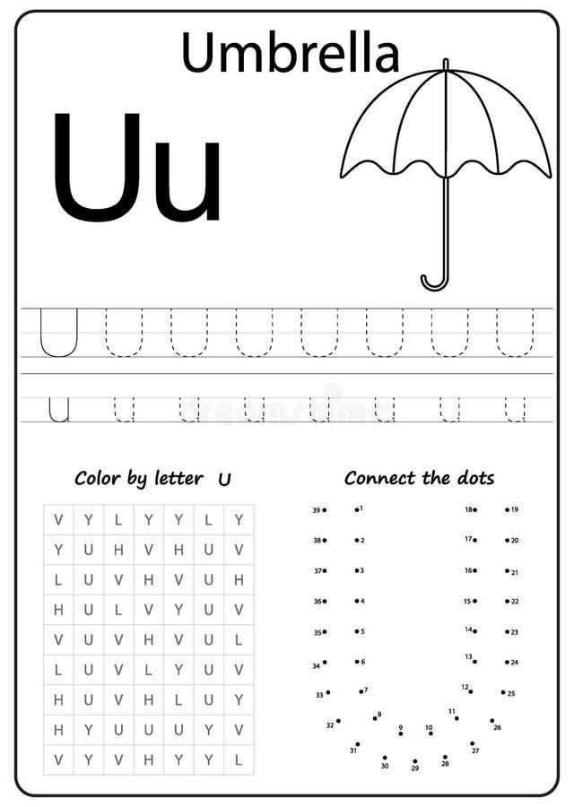 Writing Letter U Worksheet Writing A Z Alphabet Exercises Game For Kids Stock Vector Illustration Of Bright Letters 125775286 - 15+ Writing Letter U Worksheets For Kindergarten Pics