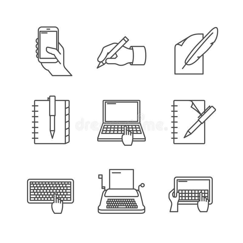 Writing line icons. Writing line icon set on white royalty free illustration