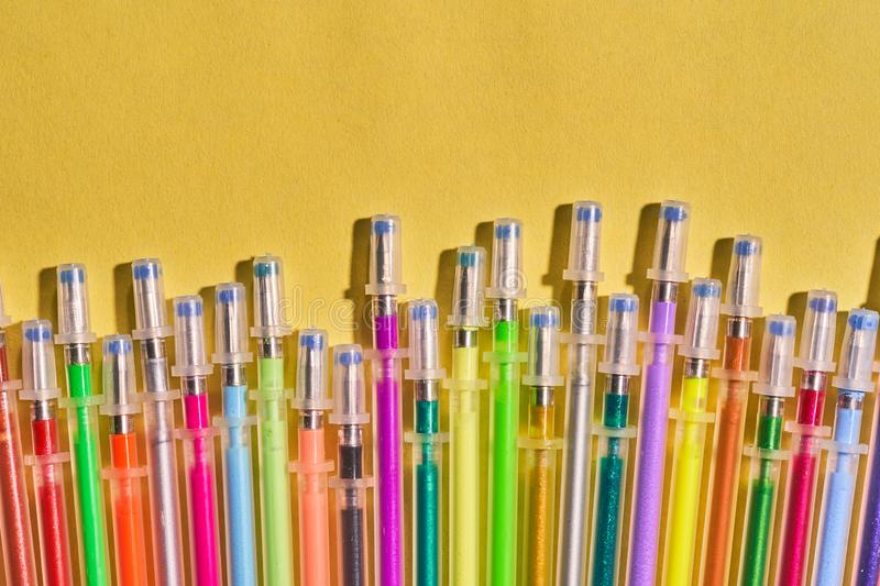 Writing materials. Colored gel rods for pens.  stock image