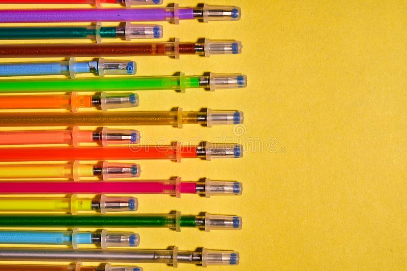 Writing materials. Colored gel rods for pens.  stock images