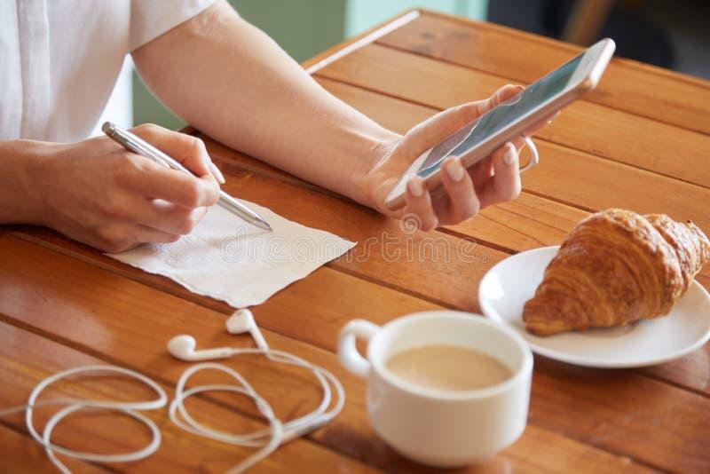 Writing on napkin royalty free stock photos