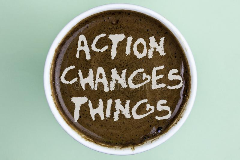 Writing note showing Action Changes Things. Business photo showcasing doing something is like chain Improve Reflects written on C. Writing note showing Action stock image