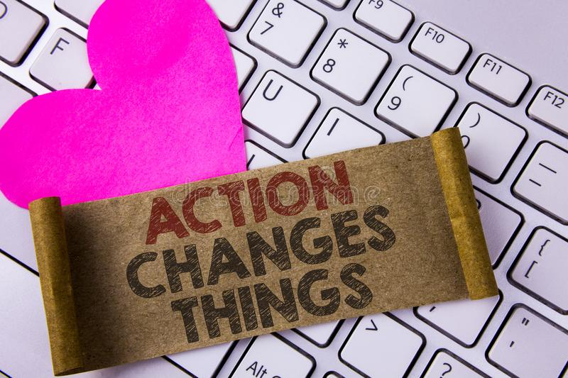 Writing note showing Action Changes Things. Business photo showcasing doing something is like chain Improve Reflects written on F. Writing note showing Action royalty free stock photography