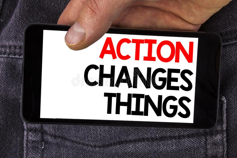 Writing note showing Action Changes Things. Business photo showcasing doing something is like chain Improve Reflects written on M. Writing note showing Action royalty free stock image