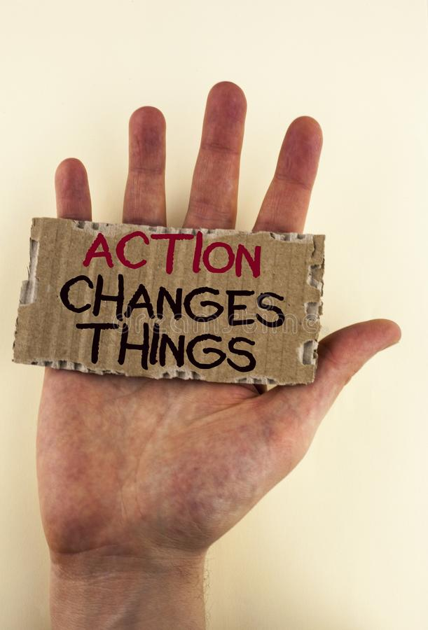 Writing note showing Action Changes Things. Business photo showcasing doing something is like chain Improve Reflects written on T. Writing note showing Action royalty free stock images