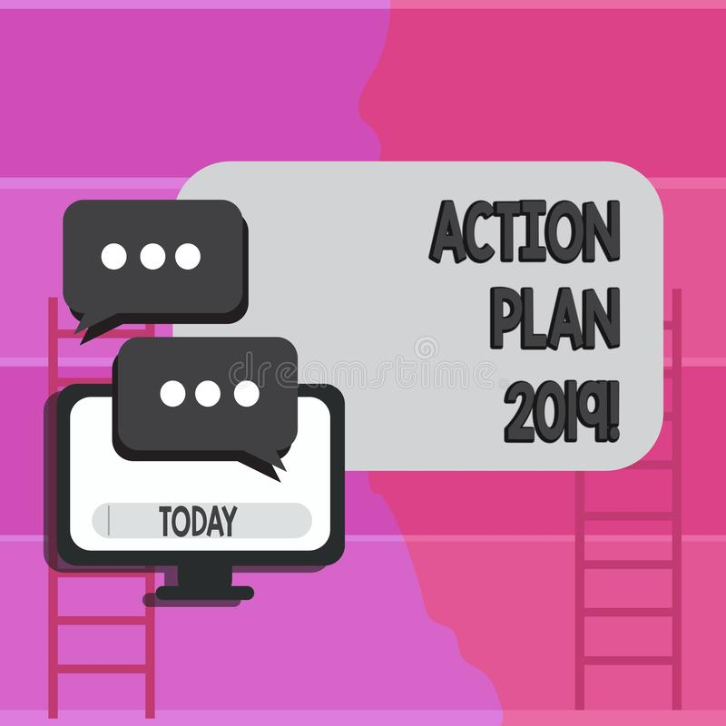 Writing note showing Action Plan 2019. Business photo showcasing Challenge Ideas Goals for New Year Motivation to Start. Writing note showing Action Plan 2019 royalty free illustration