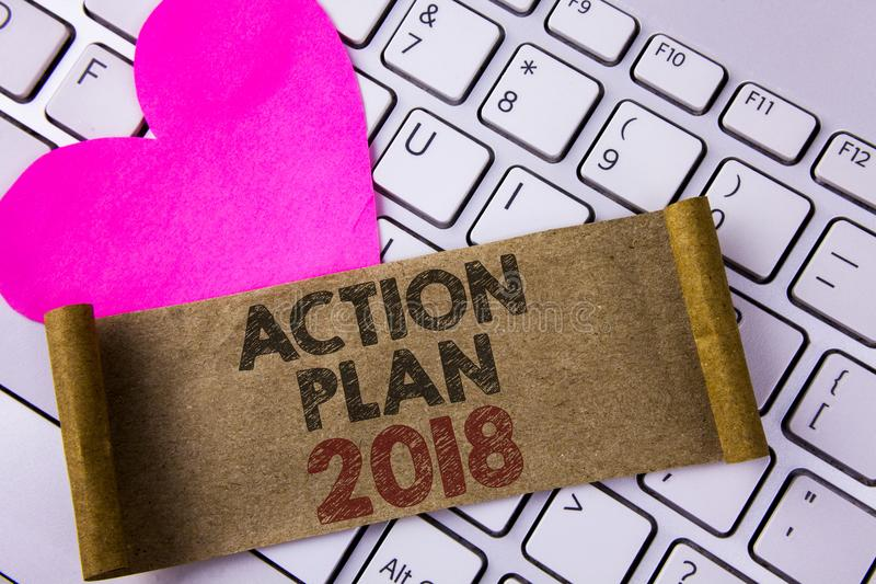 Writing note showing Action Plan 2018. Business photo showcasing to do list in new year New year resolution goals Targets written. Folded Cardboard Paper Piece stock photo