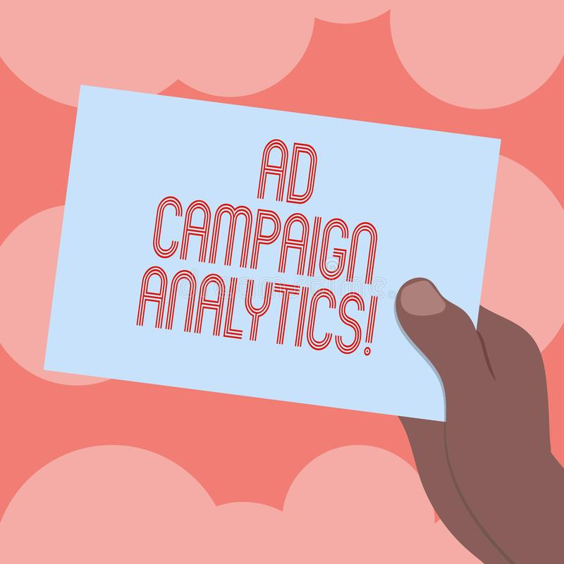 Writing note showing Ad Campaign Analytics. Business photo showcasing monitor campaigns and their respective outcomes. Drawn Hu analysis Hand Holding Blank vector illustration