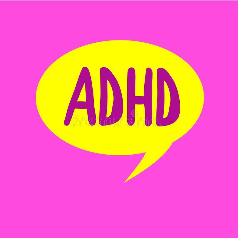 Writing note showing Adhd. Business photo showcasing Mental health disorder of children Hyperactive Trouble paying. Attention stock illustration