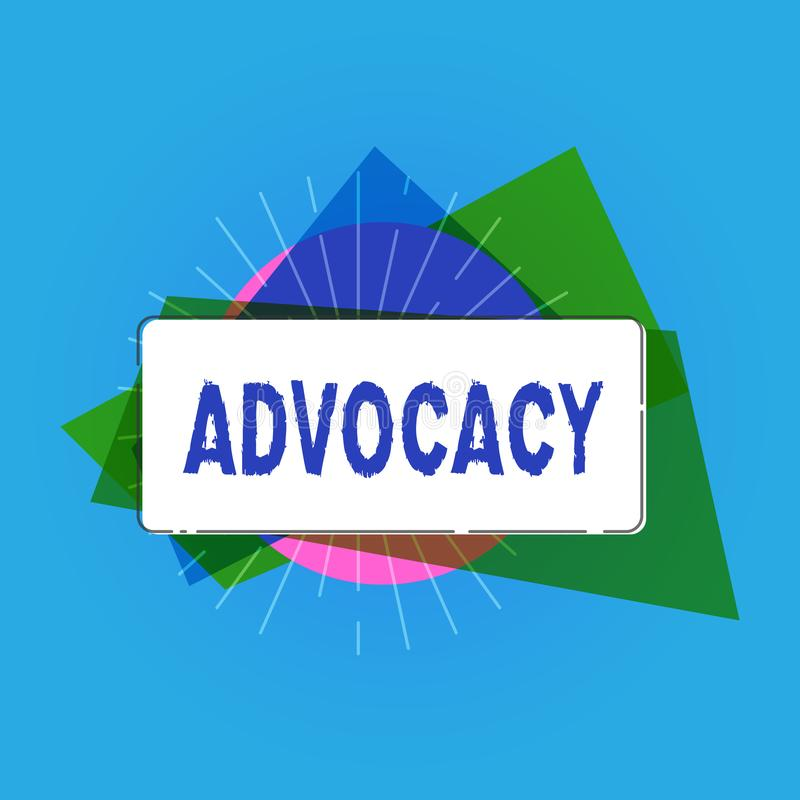 Writing note showing Advocacy. Business photo showcasing Profession of legal advocate Lawyer work Public recommendation.  royalty free illustration